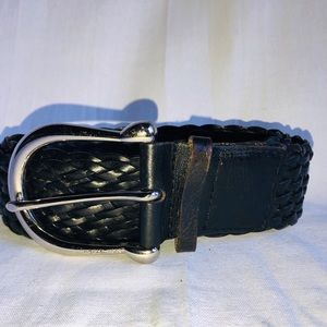 Michael Kors black leather braided belt medium